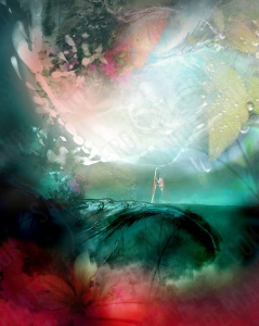 A woman in a kimono stands on an emerald bridge spanning a scarlet river, with a gigantic silver moon overhead exploding pink and silver petals. Surreal art incorporating fractals by Heather Landry.
