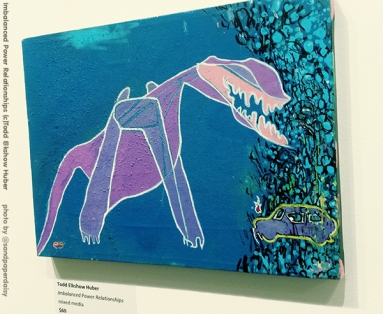 A digital painting by artist Todd Elkshow Huber depicting a purple and pink eyeless beast on a blue field.