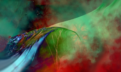 A pale green and glowing metallic blue bridge wreathed with green and red mist. Surreal art incorporating fractals by Heather Landry.