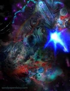 A swirling and seething deep blue nebula crammed full of different planets and celestial forms, with faint red and purple accents. Surreal space art by artist Heather Landry.