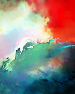 A tiny lavender ship tosses on a stormy cyan and deep blue sea., against a brilliant red sky with iridescent white clouds Surreal art incorporating fractals by Heather Landry.