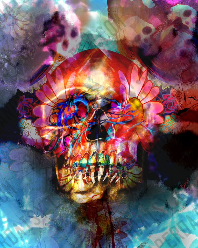 A golden skull overlaid with the swirling forms of brilliant flowers and cloudy skulls in the background, shot though with veins of brilliant cyan, red and magenta. Surreal photomanipulation and drawings by artist Heather Landry.
