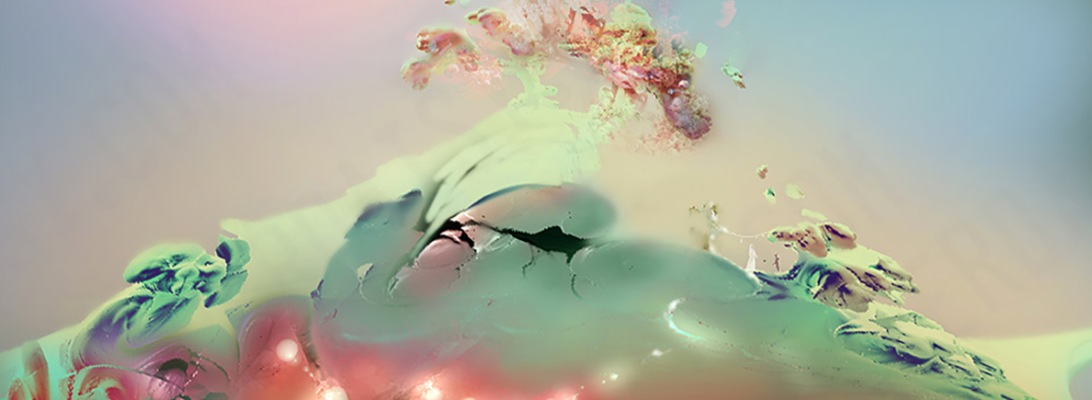 A pale bottle green and pink alien landscape with a white tree with delicate red blossoms surmounting it, composed of fractals, by artist Heather Landry.