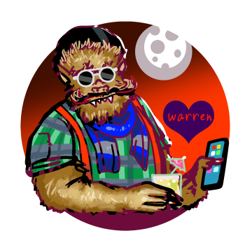 Portrait of Warren the Hipster werewolf wearing suspenders and a flannel shirt and drinking a pina colada outside trader vicks. His hair is perfect. Art for HorrorFam.com by sandpaperdaisy.