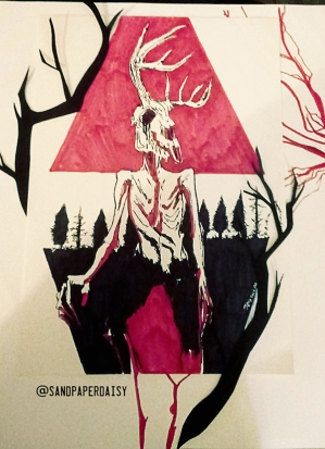 Ink, red copic and collage of a wendigo, a native american legend of a crazed human or creature that feasts on human flesh. Resembles an emaciated man wearing or having the head of a deer skull.