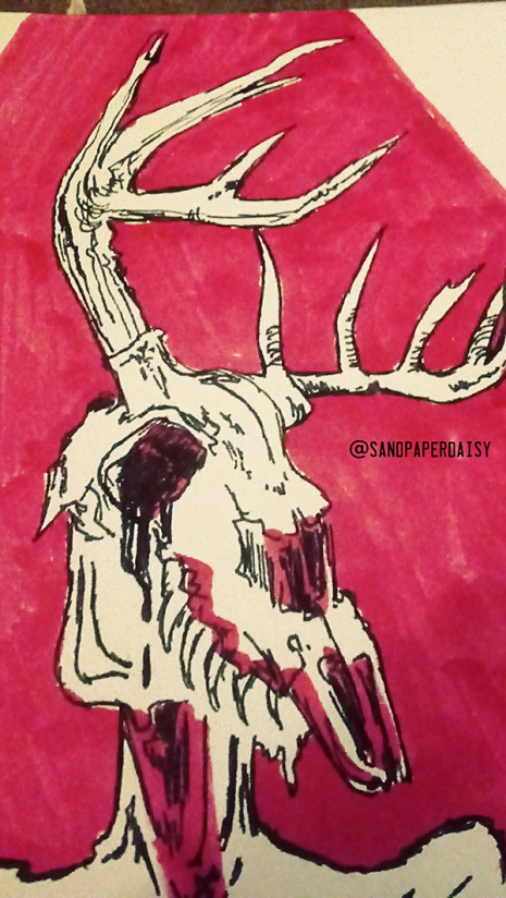 Closeup ink and red copic drawing of a wendigo, a native american legend of a crazed human or creature that feasts on human flesh. Resembles an emaciated man wearing or having the head of a deer skull.