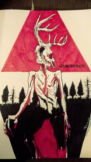Ink and red copic drawing of a wendigo, a native american legend of a crazed human or creature that feasts on human flesh. Resembles an emaciated man wearing or having the head of a deer skull.