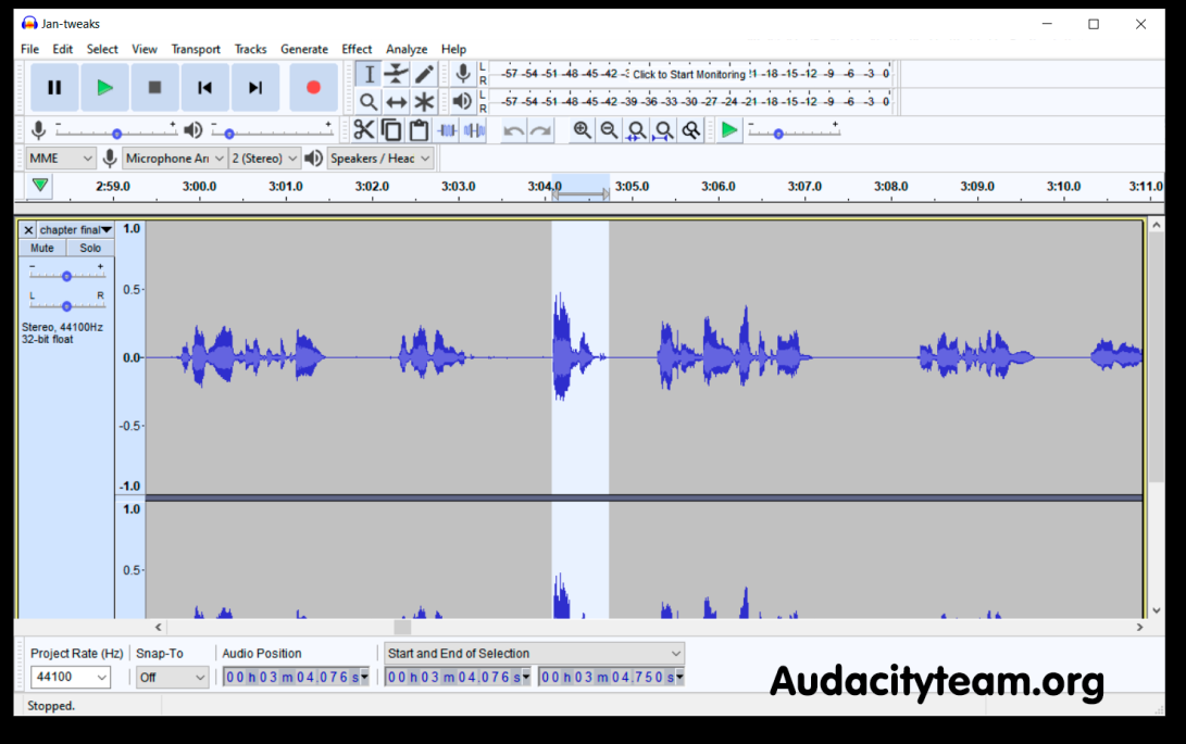 A screencap of the Audacity audio editing program, showing the wavelengths from work done on chapter one of the free horror fantasy novel The Cradle of the Worm by Heather Landry