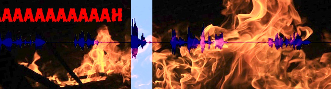 An audacity sound file for the new horror fantasy novel The Cradle of the Worm by Heather Landry, engulfed in flames displaying the text aaaaaaaah in a horror font.