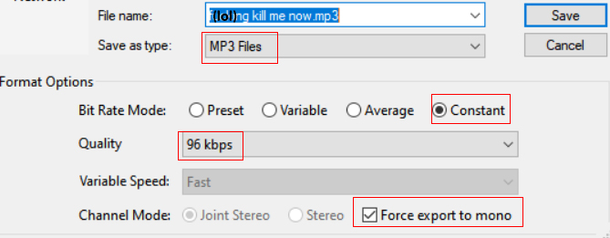 The audacity settings for exporting an mp3 file suitable for podcasting