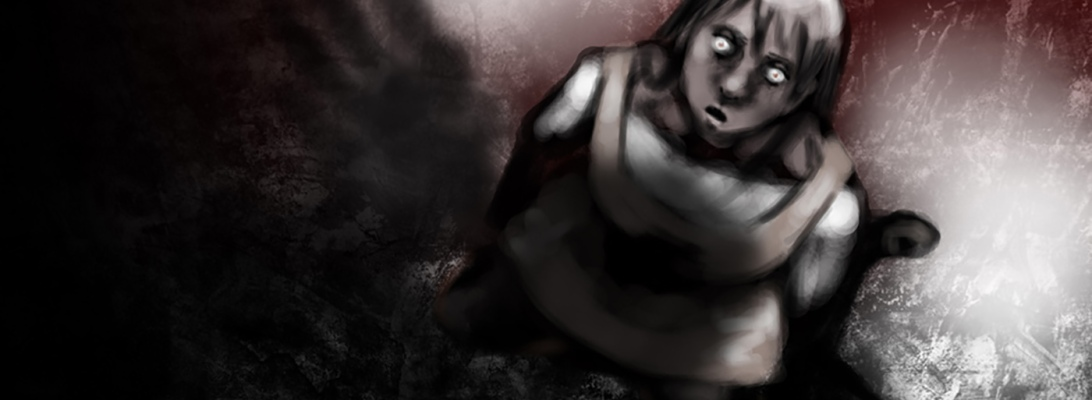 A terrified girl sprawled on the snow looking up at a menacing shadow covering her.